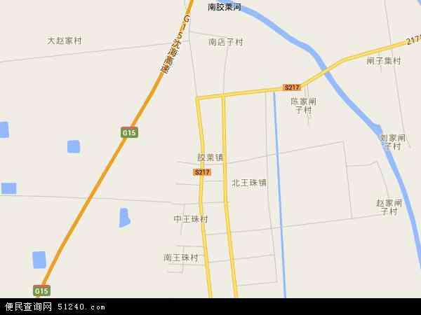 中国山东省青岛市胶州市胶莱镇地图(卫星地图)
