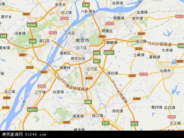 中国江苏省南京市江宁区地图(卫星地图)