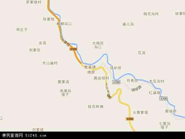 中国陕西省安康市平利县老县镇地图(卫星地图)