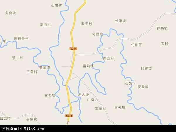 中国海南省省直辖县级行政区划定安县雷鸣镇地图