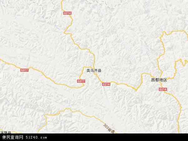 中国西藏自治区昌都地区类乌齐县地图(卫星地图)图片