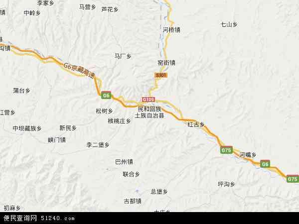 中国青海省海东市民和回族土族自治县李二堡镇地图(卫星地图)