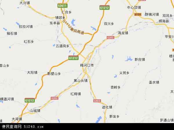 中国吉林省通化市梅河口市地图(卫星地图)