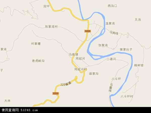 中国湖北省襄阳市保康县马良镇地图(卫星地图)