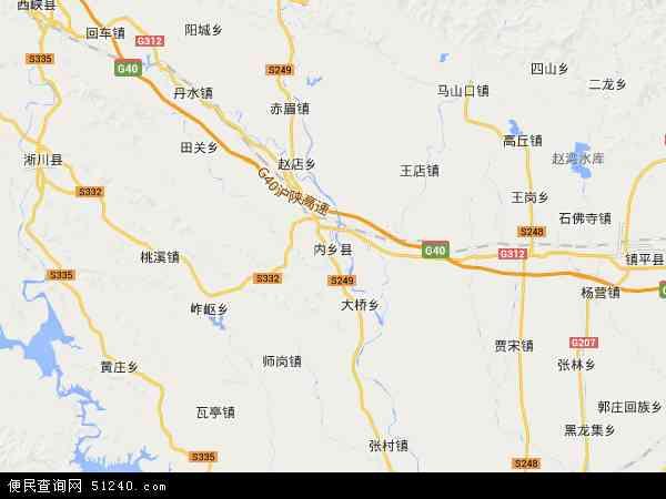 中国河南省南阳市内乡县地图(卫星地图)