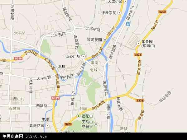 中国福建省龙岩市新罗区南城地图(卫星地图)图片