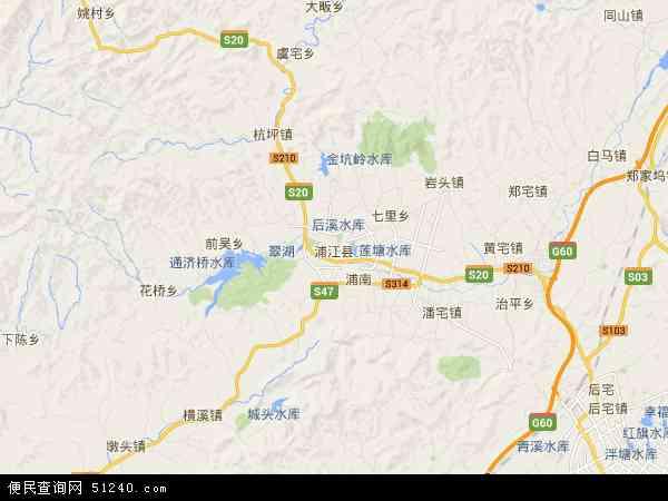 中国浙江省金华市浦江县地图(卫星地图)