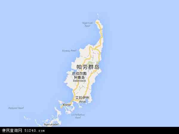 帕劳群岛地图 - 帕劳群岛电子地图 - 帕劳群岛高清地图 - 2016年帕劳群岛地图