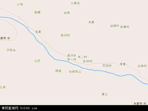 中国青海省海东市民和回族土族自治县前河乡地图(卫星地图)