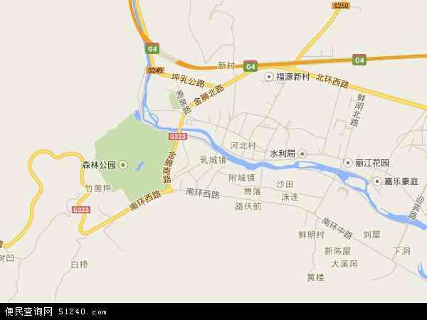 中國廣東省韶關市乳源瑤族自治縣乳城鎮地圖(衛星地圖)圖片