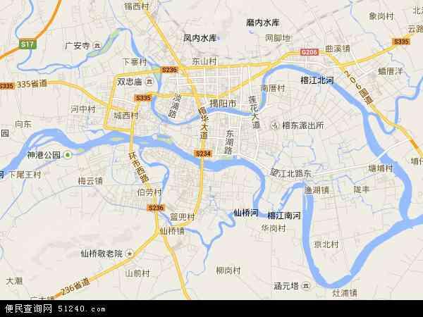 中国广东省揭阳市榕城区地图(卫星地图)