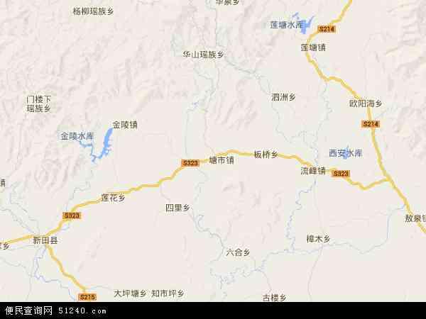 中国湖南省郴州市桂阳县四里镇地图(卫星地图)
