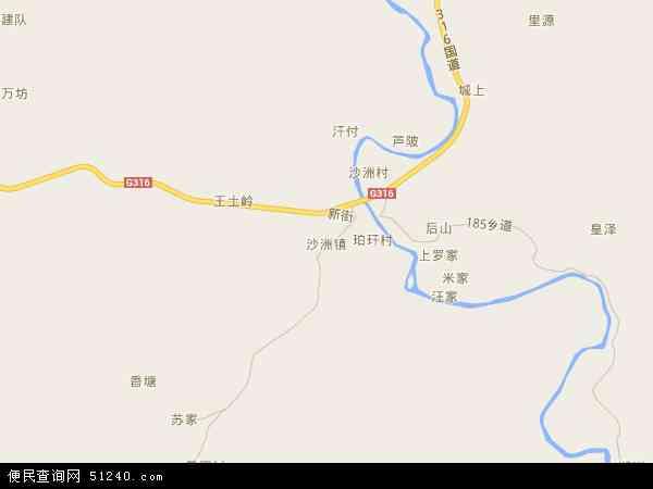 中国江西省抚州市南城县沙洲镇地图(卫星地图)图片