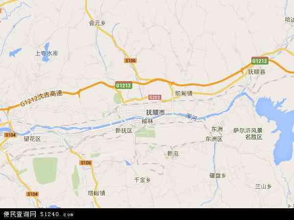 中国辽宁省抚顺市顺城区地图(卫星地图)