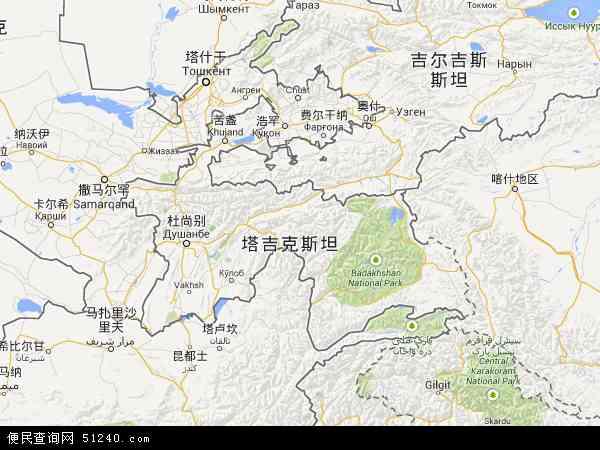 塔吉克斯坦地图 - 塔吉克斯坦电子地图