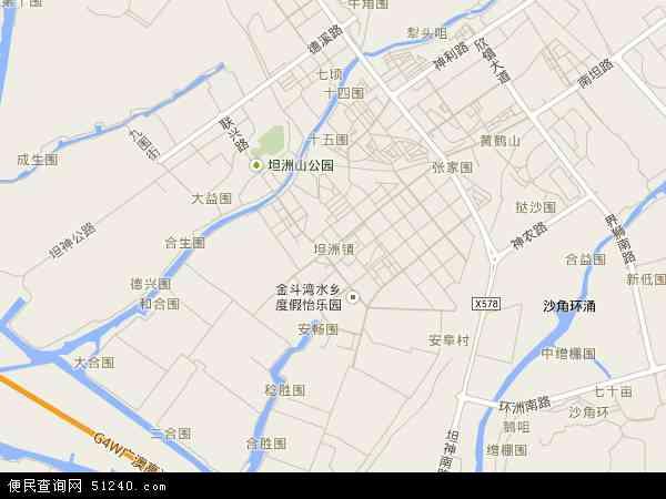 中国广东省中山市坦洲镇地图(卫星地图)