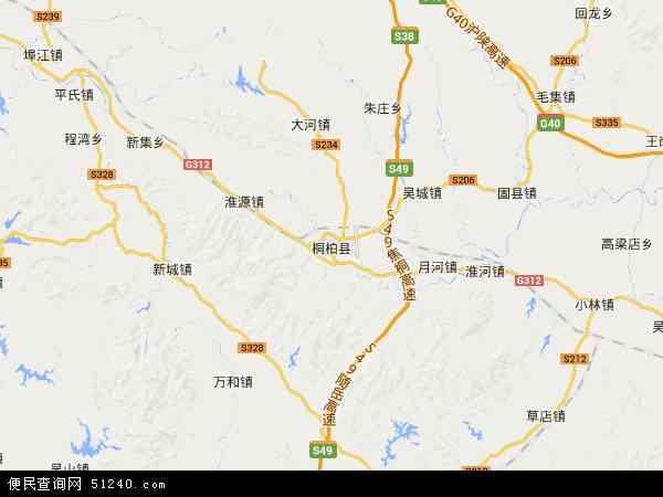 中国河南省南阳市桐柏县地图(卫星地图)