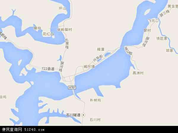 中国浙江省杭州市淳安县威坪镇地图(卫星地图)