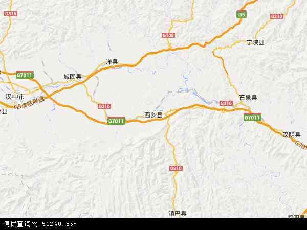 中国陕西省汉中市西乡县地图(卫星地图)