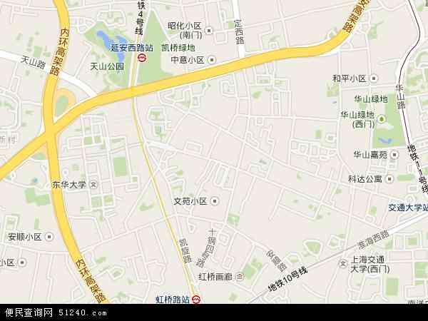 中国上海市长宁区新华路地图(卫星地图)