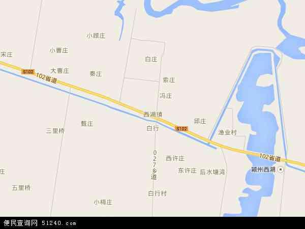 中国安徽省阜阳市颍州区西湖镇地图(卫星地图)