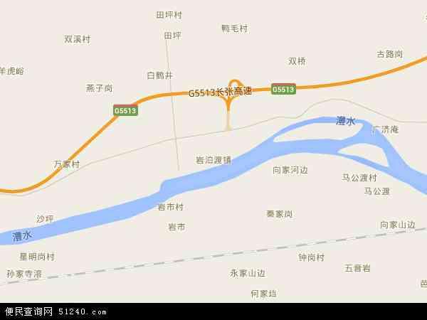 中国湖南省张家界市慈利县岩泊渡镇地图(卫星地图)
