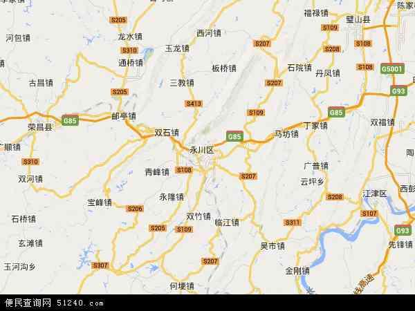 永川区地图 - 永川区卫星地图