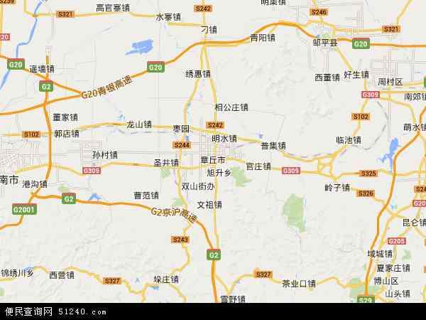 中国山东省济南市章丘市地图(卫星地图)