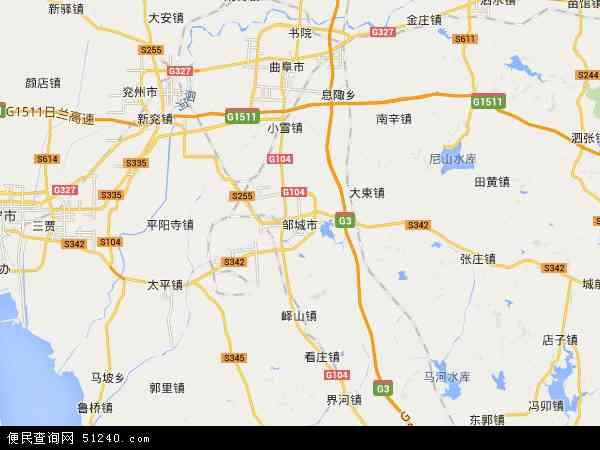 中国山东省济宁市邹城市地图(卫星地图)