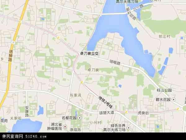 中国湖北省武汉市洪山区卓刀泉地图(卫星地图)
