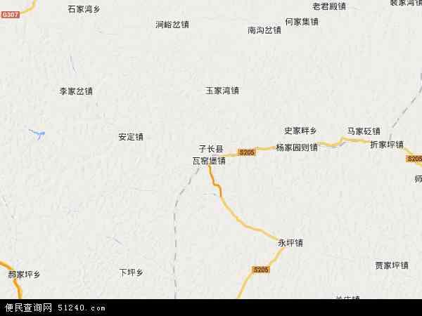 中国陕西省延安市子长县地图(卫星地图)
