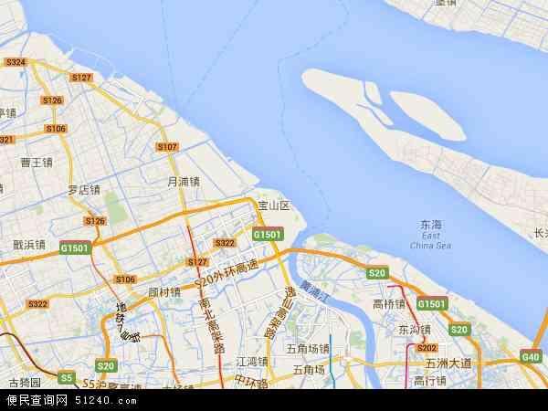 中国上海市宝山区地图(卫星地图)