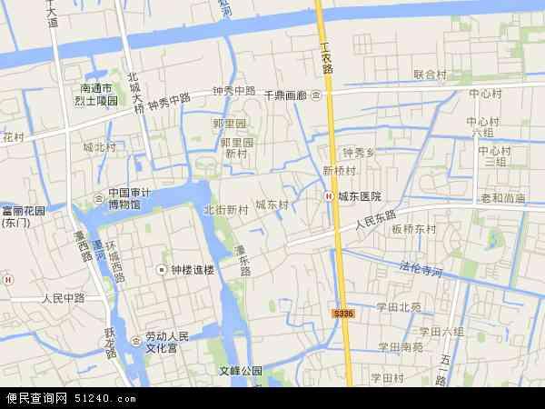 城东高清卫星地图 城东2016年卫星地图 中国江苏省南通市崇川区城