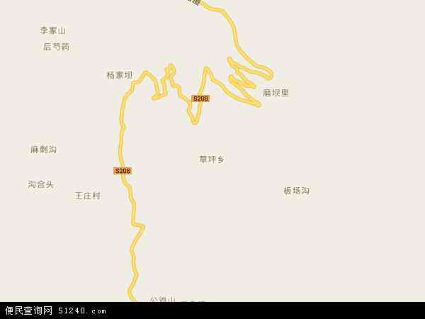 草坪乡地图 - 草坪乡卫星地图