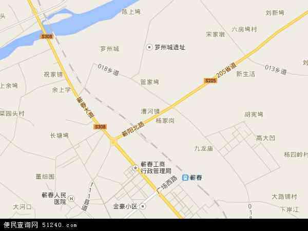 中国湖北省黄冈市蕲春县漕河镇地图(卫星地图)