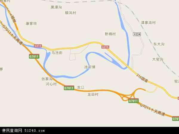 中国陕西省安康市石泉县池河镇地图(卫星地图)