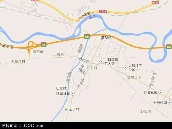 中国青海省海东市民和回族土族自治县川口镇地图(卫星地图)