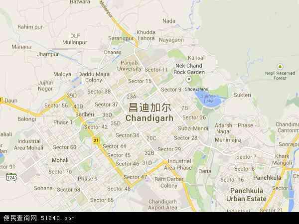 印度昌迪加尔地图(卫星地图)