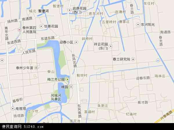 中国江苏省泰州市海陵区城东地图(卫星地图)