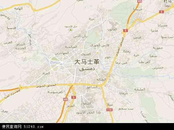 大马士革市地图 - 大马士革市卫星地图