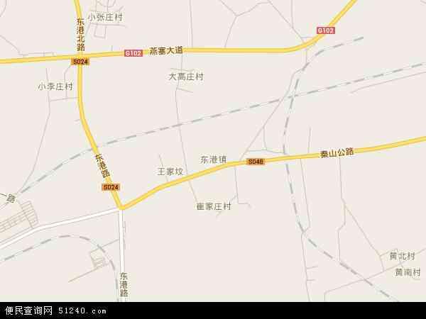 中国河北省秦皇岛市海港区东港镇地图(卫星地图)