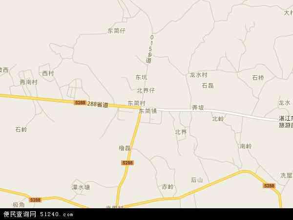 中国广东省湛江市麻章区东简镇地图(卫星地图)