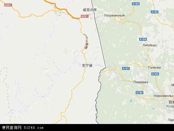 中国黑龙江省牡丹江市东宁县地图(卫星地图)