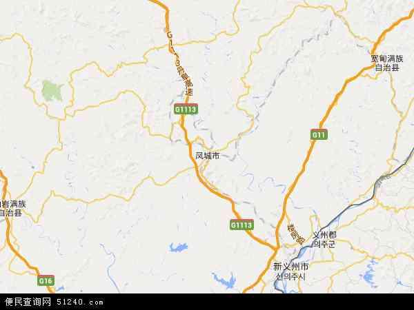中国辽宁省丹东市凤城市地图(卫星地图)