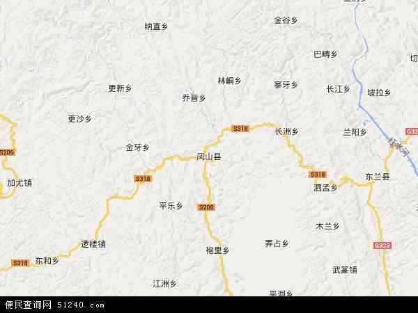 中国广西壮族自治区河池市凤山县地图(卫星地图)