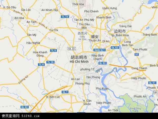 越南胡志明市地图(卫星地图)