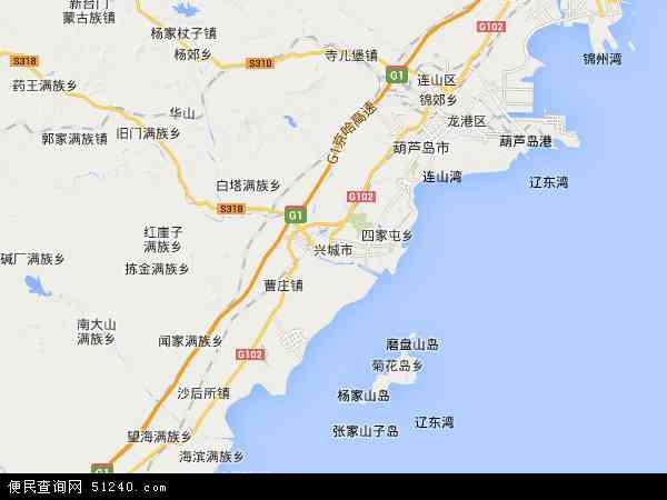 中国辽宁省葫芦岛市兴城市红崖子镇地图(卫星地图)