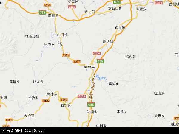 中国江西省赣州市会昌县地图(卫星地图)