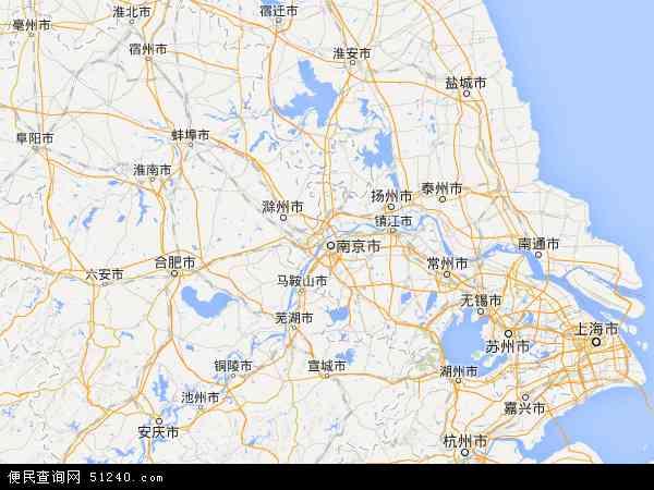 中国江苏省地图(卫星地图)