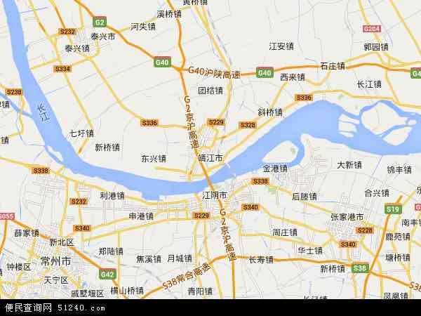 靖江市地图 - 靖江市卫星地图